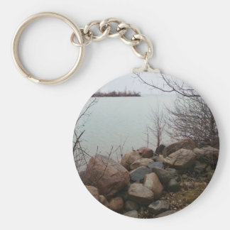 Grindstone City Autumn Fall Shoreline Sandstone Basic Round Button Keychain