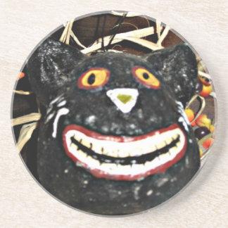 Grinning Black Cat Coaster