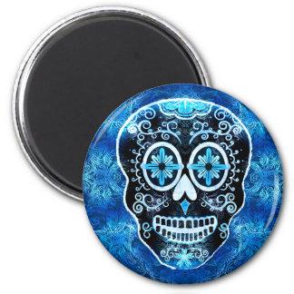 Grinning Blue Calavera Magnet