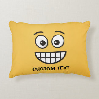 Grinning Face with Open Eyes Accent Pillow