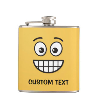 Grinning Face with Open Eyes Hip Flask