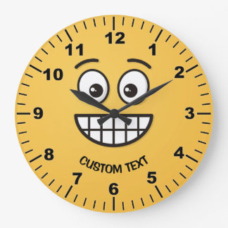 Grinning Face with Open Eyes Large Clock