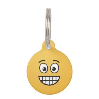 Grinning Face with Open Eyes Pet Name Tag