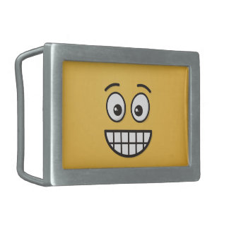 Grinning Face with Open Eyes Rectangular Belt Buckle
