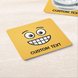 Grinning Face with Open Eyes Square Paper Coaster