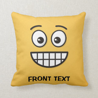 Grinning Face with Open Eyes Throw Pillow