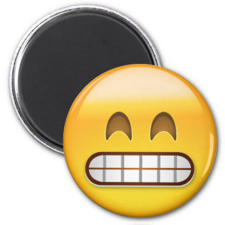 Grinning Face With Smiling Eyes Emoji 2 Inch Round Magnet