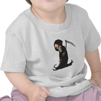 Grinning Grim Reaper with Red Eyes Holding Scythe Tshirt