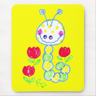 Grinning Happy Caterpillar Yellow Background Mouse Pad