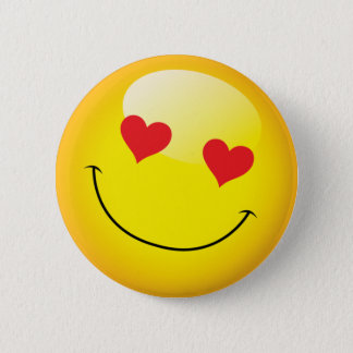 Grinning Happy Love Heart Emoji Man Face Party 2 Inch Round Button