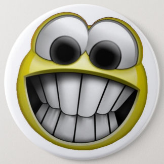 Grinning Happy Smiley Face 6 Inch Round Button