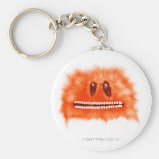 Grinning Orange Fluffball Critter Basic Round Button Keychain
