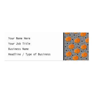 Grinning Orange Halloween Pumpkin Pattern Business Cards