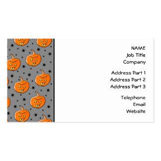 Grinning Orange Halloween Pumpkin Pattern Business Card Template
