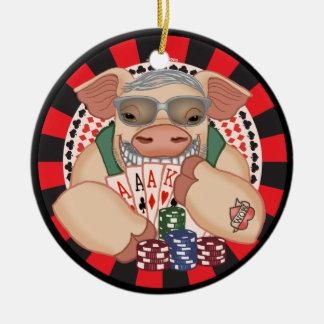 Grinning Poker Pig Ceramic Ornament