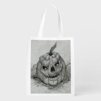 Grinning Pumpkin Trick or Treat Candy Bag Reusable Grocery Bag