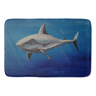 grinning quietly shark bathroom mat