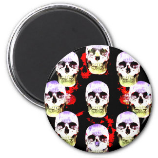Grinning skulls gothic magnet