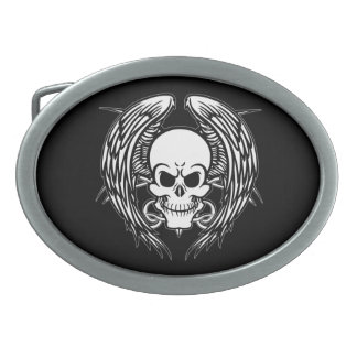 Grinning Tattoo Skull and Wings with Tribal Oval Belt Buckles