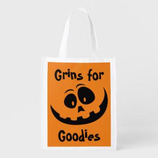 Grins for Goodies Halloween Treat Reusable Grocery Bag
