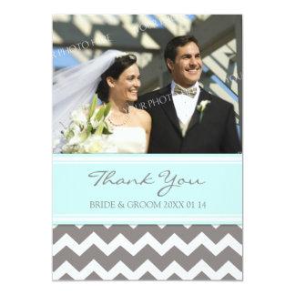 Gris bleu Chevron de cartes photos de Merci de Invitations
