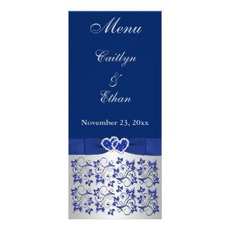 Gris bleu et argenté floral, carte de menu de coeu carte double customisable