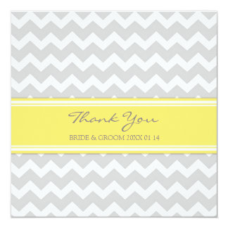 Gris Chevron de jaune de cartes de Merci de Carton D'invitation 13,33 Cm