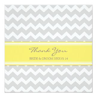 Gris Chevron de jaune de cartes de Merci de Carton D'invitation 13,33 Cm