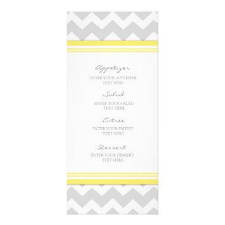 Gris Chevron de jaune de menu de mariage Double Carte