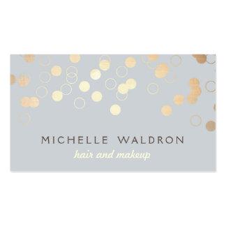 Gris élégant de maquilleur de beauté de confettis cartes de visite personnelles