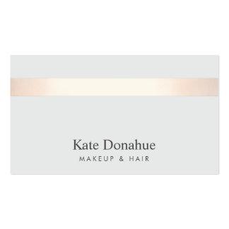 Gris élégant moderne rayé 2 d'or rose subtil carte de visite standard