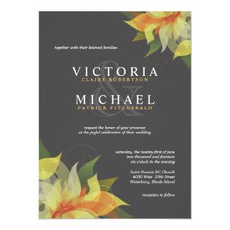 Gris et invitations florales jaunes de mariage
