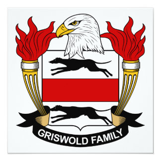 """Griswold Family Crest 5.25"""" Square Invitation Card"""