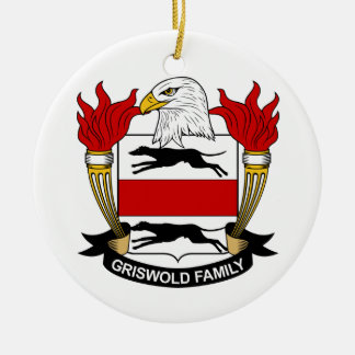 Griswold Family Crest Round Ceramic Ornament