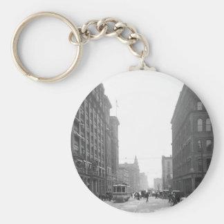 Griswold Street, Detroit: 1906 Basic Round Button Keychain