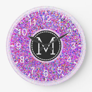 Grit Glitter Multicolor Painting Monogram Large Clock