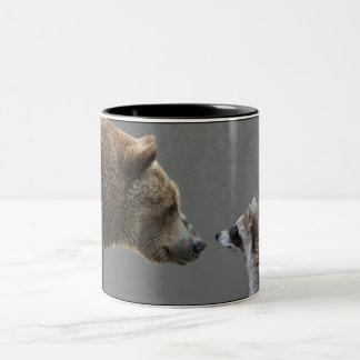 Grizzle Bear Meets Raccoon Two-Tone Mug