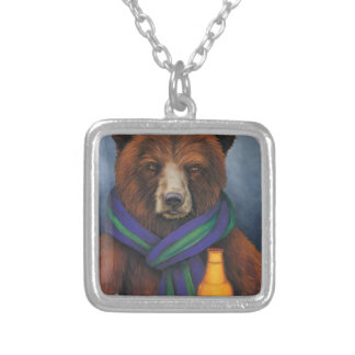 Grizzley Bear Silver Plated Necklace