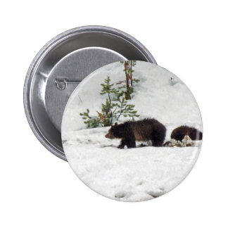 Grizzlies in the Snow 2 Inch Round Button