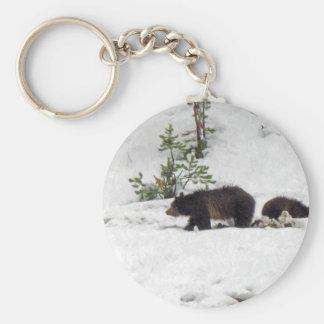 Grizzlies in the Snow Basic Round Button Keychain