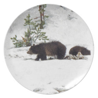 Grizzlies in the Snow Plates