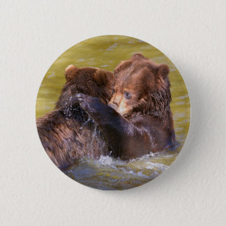 Grizzlies in the water 2 inch round button