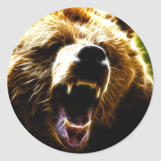 Grizzly Attack Classic Round Sticker