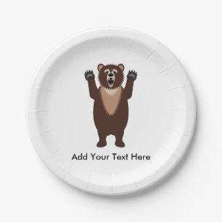 Grizzly Bear 7 Inch Paper Plate