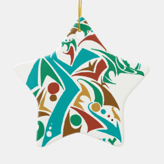 Grizzly Bear Abstract Design Ceramic Star Ornament