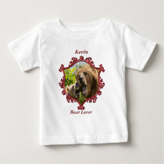 Grizzly bear and baby with big teeth.red sq frame baby T-Shirt