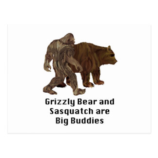 Grizzly Bear and Sasquatch are Big Buddies Gifts Postcard