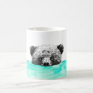 Grizzly bear bathing in Teal Coffee Mug