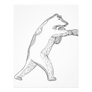 Grizzly Bear Boxing Doodle Art Letterhead