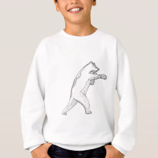 Grizzly Bear Boxing Doodle Art Sweatshirt